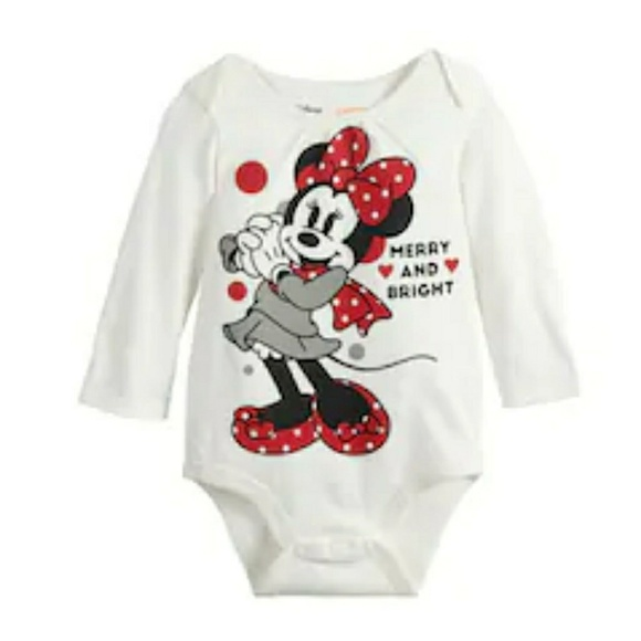 Disney Other - Disney Minnie Mouse Christmas infant body suit.